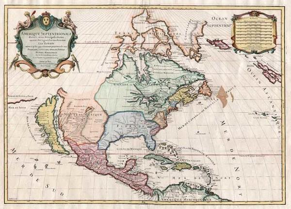 51-North America and California Map By Nicolas Sanson  &  Alexis-Hubert Jaillot
