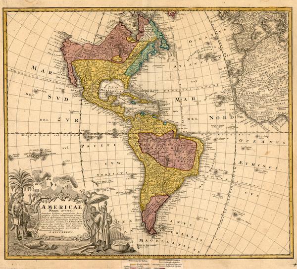 12-World, Western Hemisphere, South America and America Map By Homann Heirs / Johann Matthaus Haas