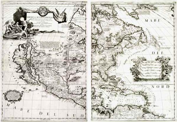 39-North America and California Map By Vincenzo Maria Coronelli