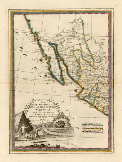 54-Texas, Southwest, Mexico, Baja California and California Map By Giovanni Maria Cassini