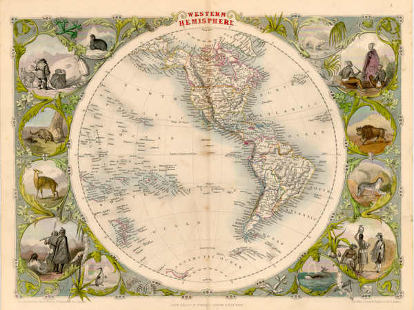 67-World, World, Western Hemisphere, South America and America Map By John Tallis