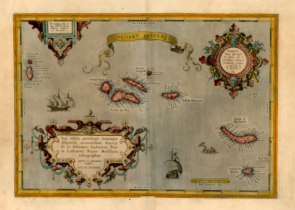 49-World, Atlantic Ocean, Europe, Portugal and Balearic Islands Map By Abraham Ortelius