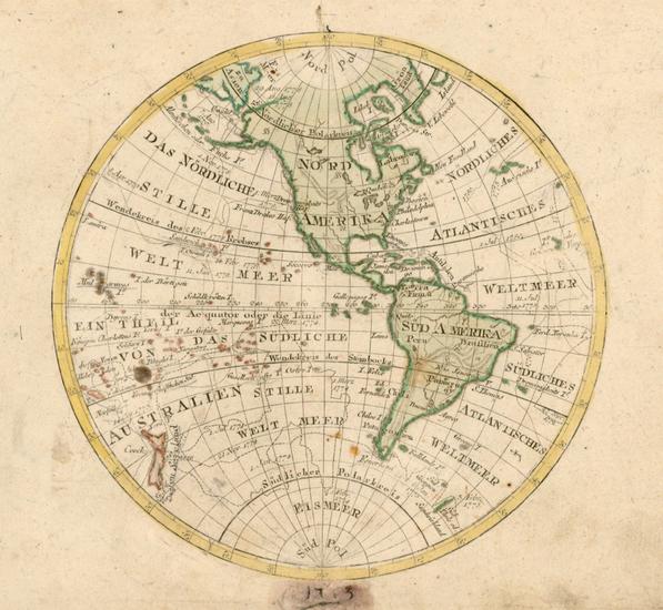47-Western Hemisphere, South America and America Map By Johann Walch