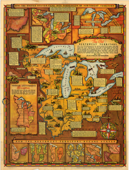 34-Midwest Map By Fred Rentscher / Federal Art Project, WPA