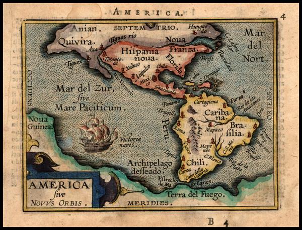 79-World, Western Hemisphere, South America and America Map By Abraham Ortelius / Johannes Baptist