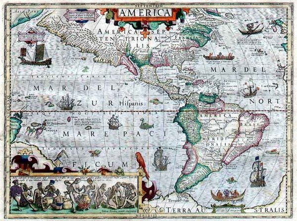 25-North America, South America and America Map By Jodocus Hondius