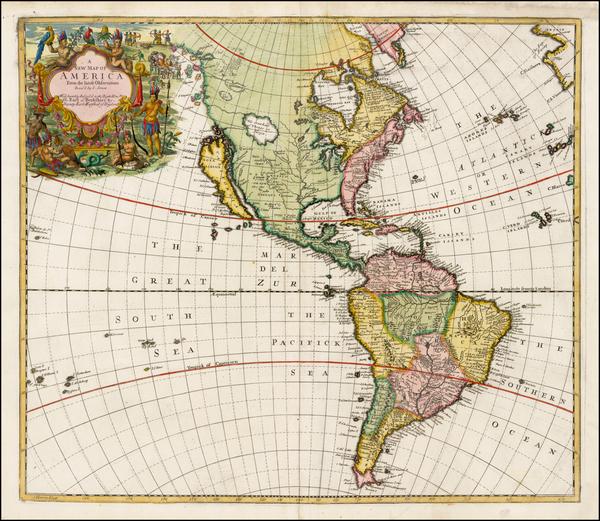 90-South America and America Map By John Senex