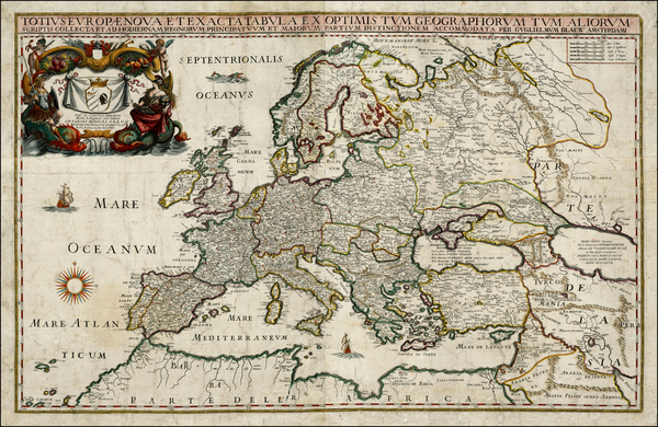 4-Europe and Europe Map By Willem Janszoon Blaeu / Giacomo Giovanni Rossi