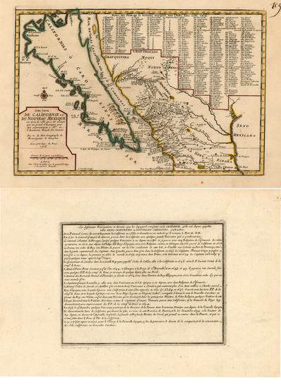 70-Southwest, Mexico, Baja California and California Map By Nicolas de Fer