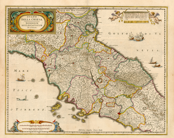 4-Italy Map By Henricus Hondius