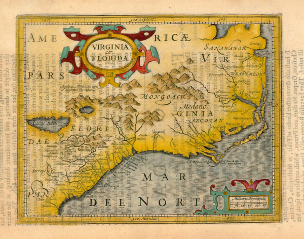 2-Mid-Atlantic and Southeast Map By Jodocus Hondius  &  Gerhard Mercator