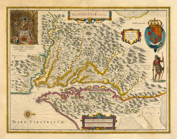 28-Mid-Atlantic and Southeast Map By Henricus Hondius