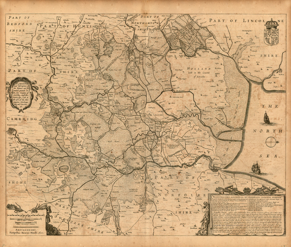 69-England and British Counties Map By Henricus Hondius