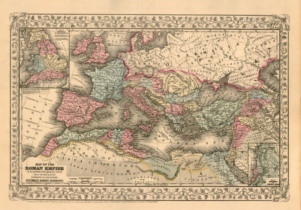 88-Europe, Europe, Italy, Mediterranean and Africa Map By Samuel Augustus Mitchell