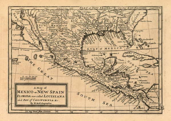 97-Texas, Southwest, Caribbean and California Map By Herman Moll