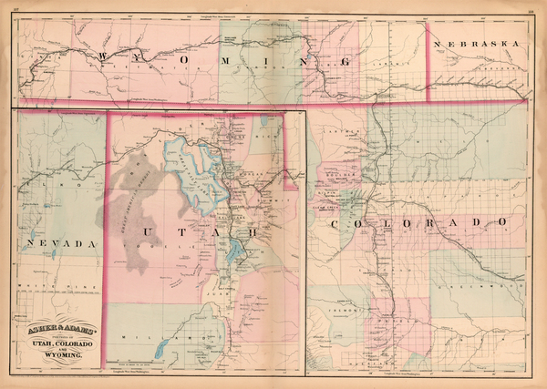 98-Plains, Southwest, Rocky Mountains and Utah Map By Asher  &  Adams