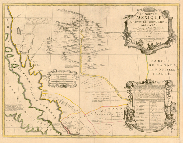 7-Texas, Southwest, Mexico and California Map By Vincenzo Maria Coronelli / Jean-Baptiste Nolin