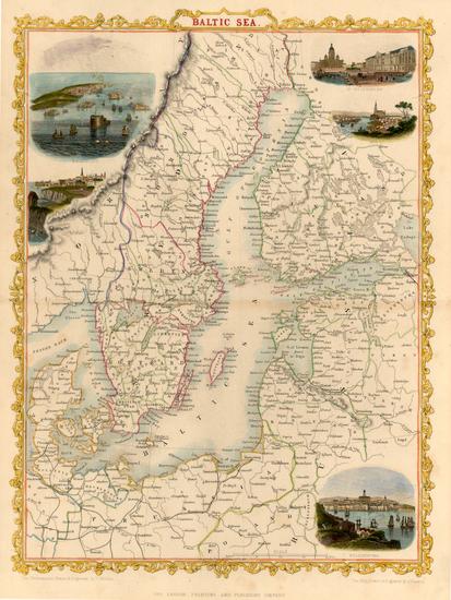 74-Europe, Poland, Russia, Baltic Countries and Scandinavia Map By John Tallis