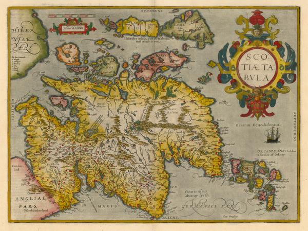 57-Scotland Map By Abraham Ortelius