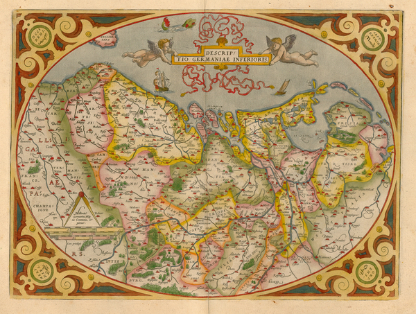 57-Europe, Netherlands and Germany Map By Abraham Ortelius