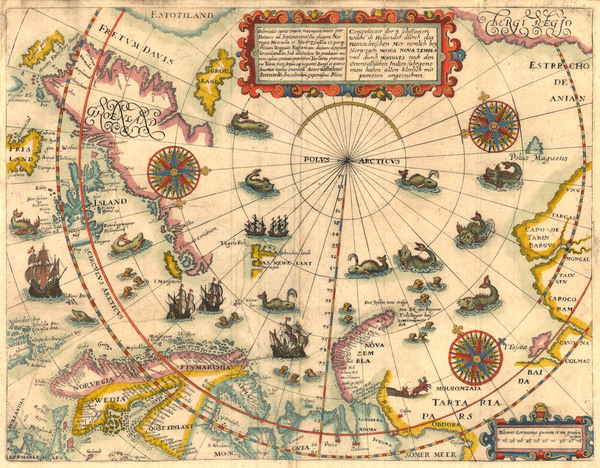74-World, World, Northern Hemisphere, Polar Maps, Atlantic Ocean, Europe, Russia, Baltic Countries