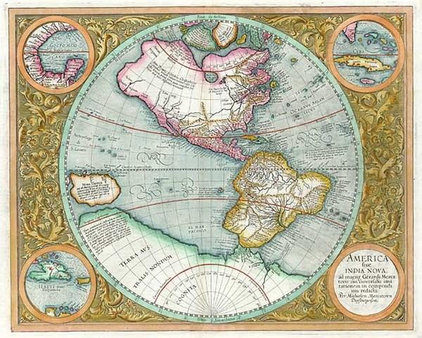 51-World, Western Hemisphere, Polar Maps, South America and America Map By Michael Mercator