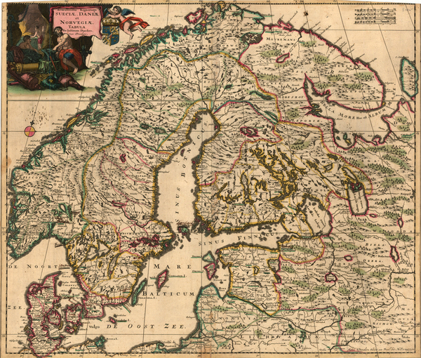 45-Russia, Baltic Countries and Scandinavia Map By Justus Danckerts
