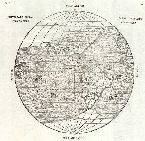 73-World, Western Hemisphere, Polar Maps, South America and America Map By Giovanni Battista Ramus