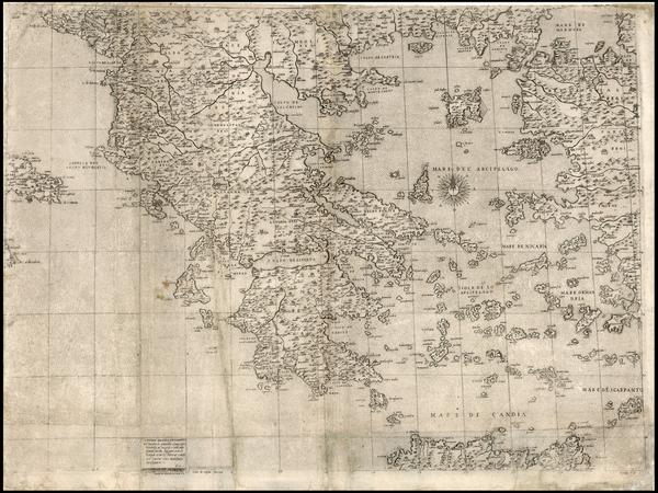 63-Balkans and Greece Map By Giacomo Gastaldi