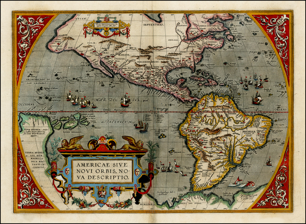 69-World, Western Hemisphere, North America, South America and America Map By Abraham Ortelius
