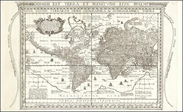 76-World and World Map By J. Battista Cavazza