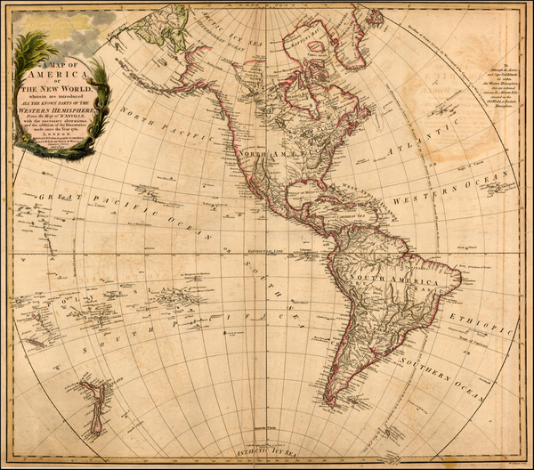 89-Western Hemisphere, South America and America Map By William Faden