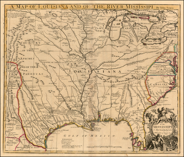 82-United States, South, Southeast, Texas, Midwest and Plains Map By John Senex