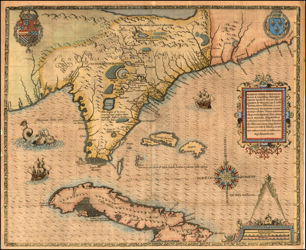 38-South, Southeast, Midwest and Caribbean Map By Jacques Le Moyne