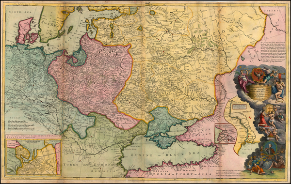 50-Germany, Poland, Russia, Ukraine, Baltic Countries, Balkans and Scandinavia Map By Herman Moll