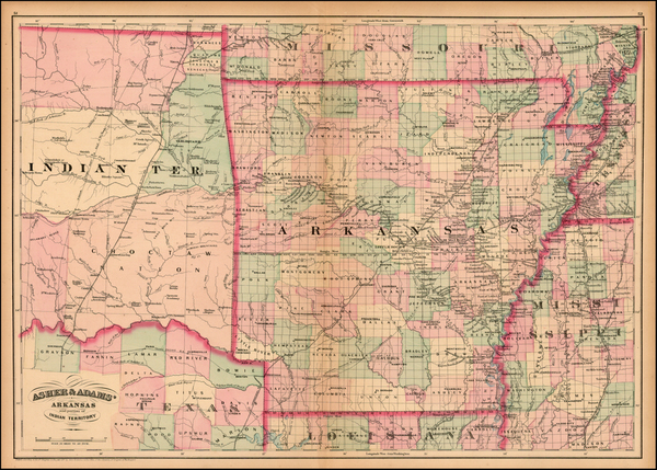 55-Arkansas and Oklahoma & Indian Territory Map By Asher / Adams