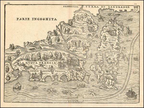 71-New England and Canada Map By Giovanni Battista Ramusio / Giacomo Gastaldi