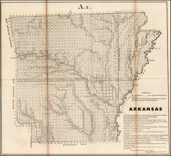92-Arkansas Map By U.S. General Land Office
