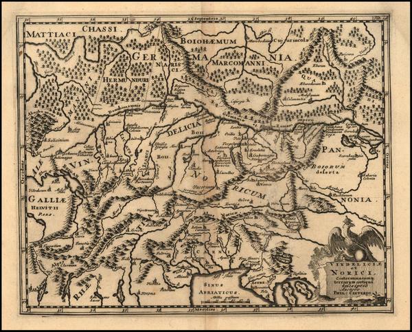 39-Austria, Hungary, Czech Republic & Slovakia, Balkans and Italy Map By Philipp Clüver