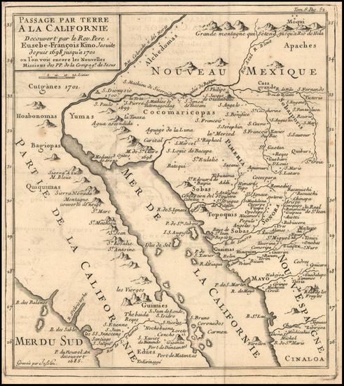 80-Southwest, Mexico, Baja California and California Map By Fr. Eusebio Kino