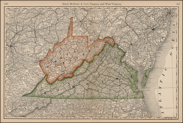 86-Mid-Atlantic, Southeast and Midwest Map By Rand McNally & Company