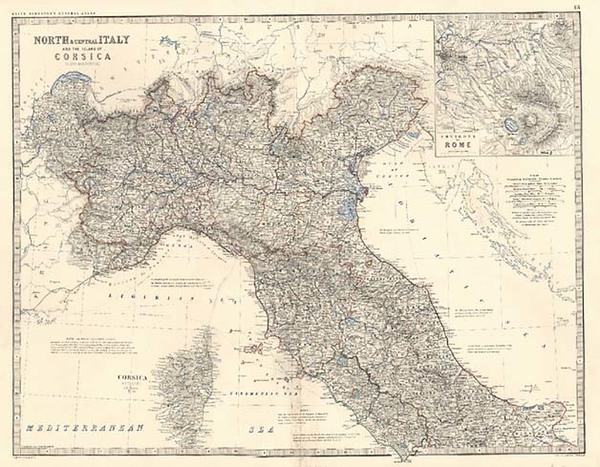 51-Europe, Italy and Balearic Islands Map By W. & A.K. Johnston
