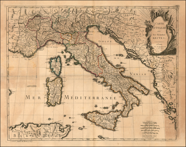 80-Italy and Balearic Islands Map By Felix Delamarche