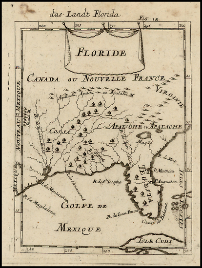 89-Florida and Southeast Map By Alain Manesson Mallet