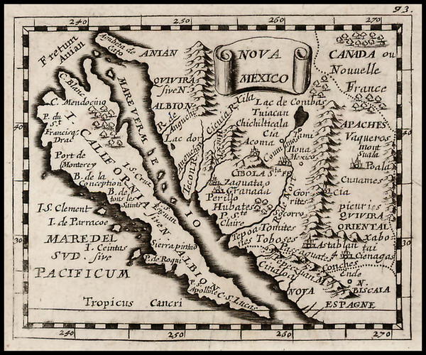 52-Southwest, Mexico, Baja California and California Map By Pierre Du Val