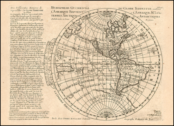 84-World and Western Hemisphere Map By Pierre Moullart Sanson