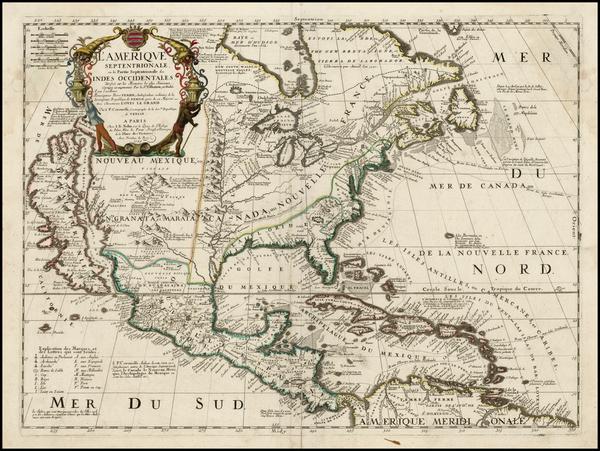 49-North America and California Map By Vincenzo Maria Coronelli / Jean-Baptiste Nolin