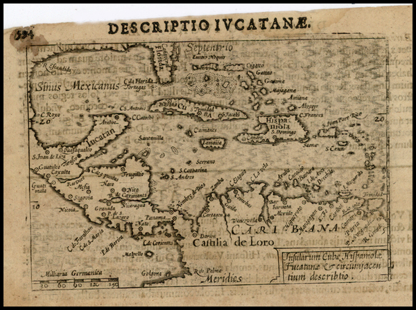 70-Southeast, Mexico, Caribbean and Central America Map By Petrus Bertius
