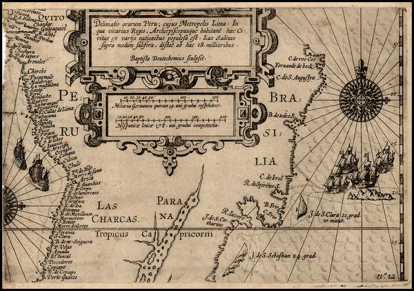 57-South America and Brazil Map By Nicholas Van Geelkercken / Baptista Van Doetecum