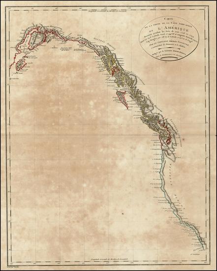 22-Alaska, Canada and California Map By Pierre Antoine Tardieu